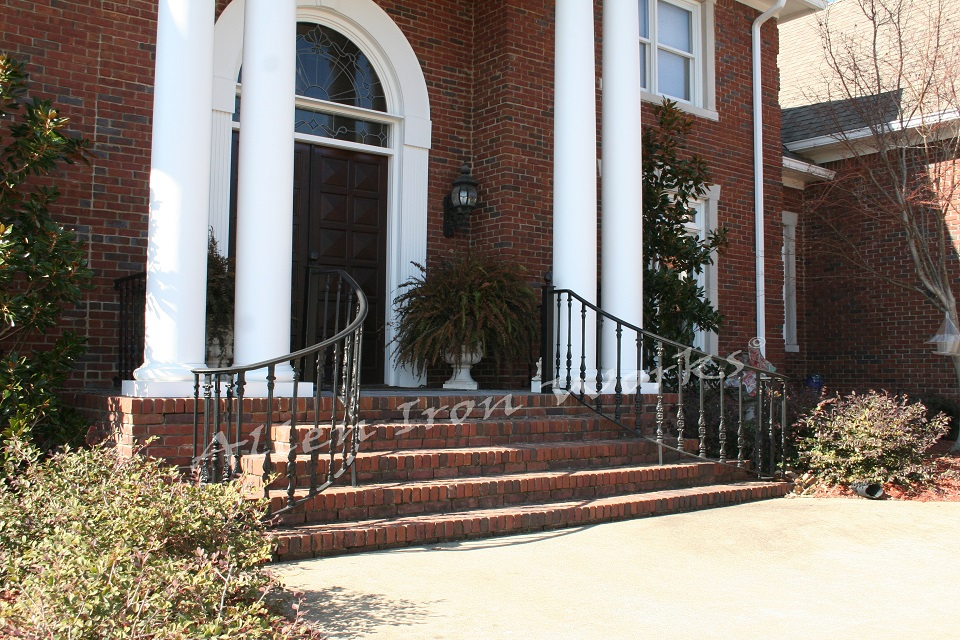 Curved Exterior Iron Railings Birmingham AL with Cast Iron Spindles - The Stephens