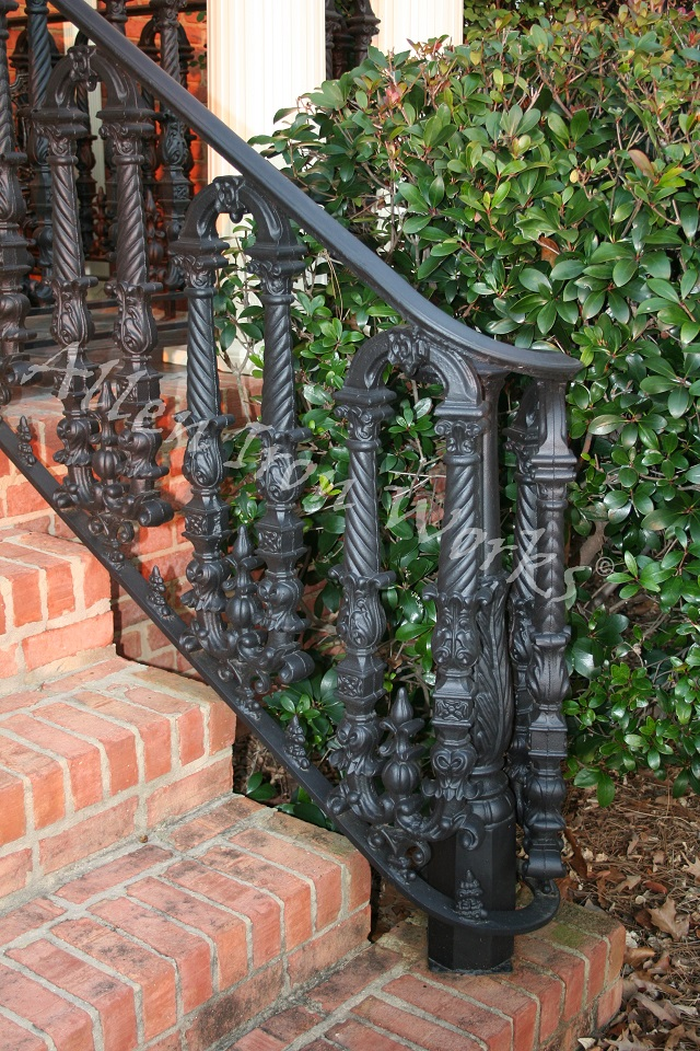 Exterior Iron Railings in Birmingham AL - The Mercer - with Cast Iron Newel Post