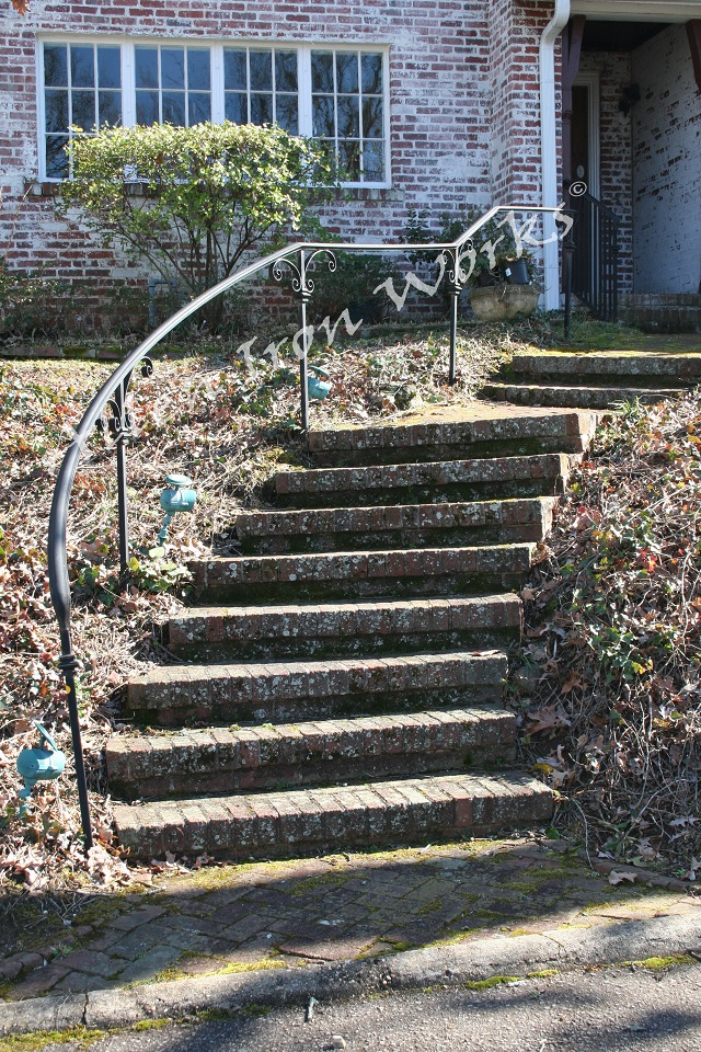 The Forged Scroll Single Line - Iron Curved Railing Birmingham AL
