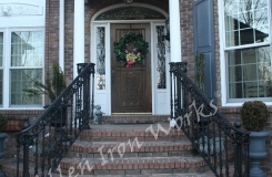 Iron Exterior Railings Birmingham AL - The Roanoke with Pineapple Finials