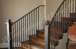 iron-interior-railing-with-side-mount-pickets-hammered-plates-birmingham-al