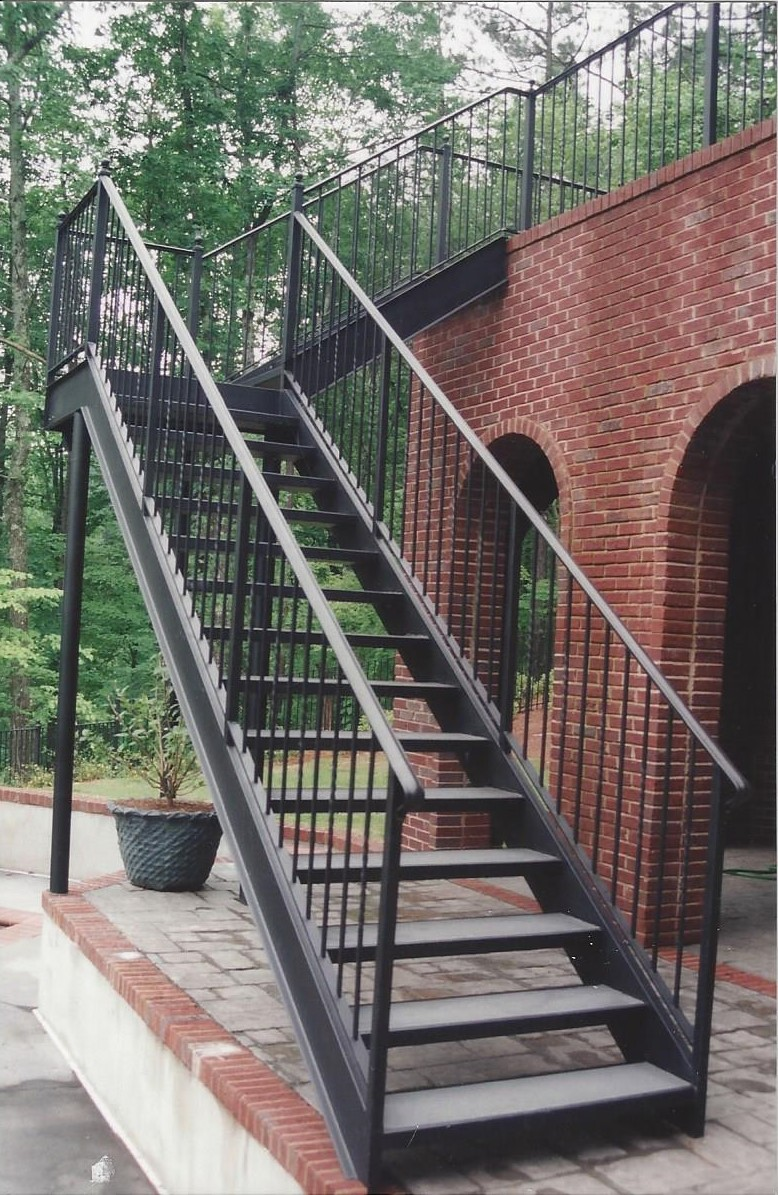 Residential Straight Iron Stairs Concrete Treads in Birmingham AL
