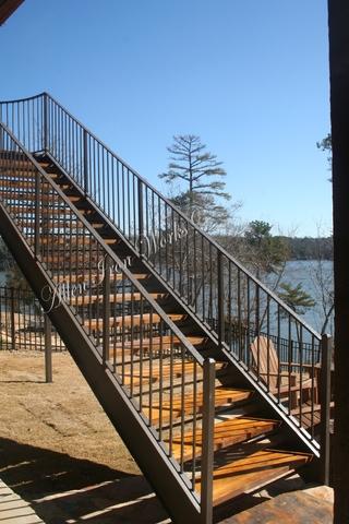 Wood Treads on Residential Straight Metal Stairs Tuscaloosa AL